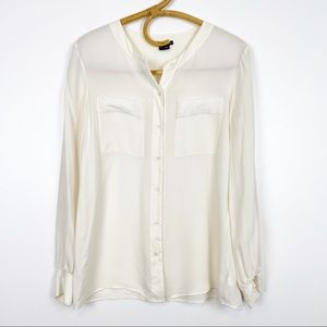 Theory | 100% Silk Cream Button Front Blouse